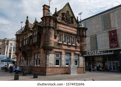 GLASGOW, SCOTLAND - JULY 31, 2019: The former St Enoch subway station at St Enoch Square in Glasgow which is nowadays used as retro Caffe Nero