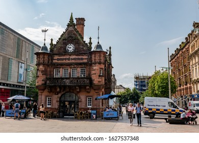 GLASGOW, SCOTLAND - JULY 31, 2019: The former St Enoch subway station at St Enoch Square in Glasgow which is used as retro Caffe Nero nowadays