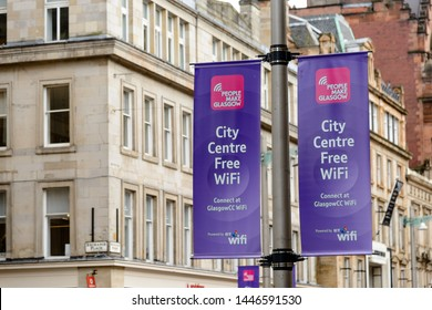 GLASGOW,, SCOTLAND - JUNE 03, 2015: Banners advertising free wifi service in central Glasgow.