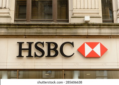 GLASGOW, SCOTLAND - JUNE 03, 2015: HSBC retail bank sign in Buchanan Street where some of the city's finest shopping with lots of designer brands are represented.