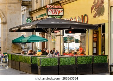 GLASGOW, SCOTLAND - JUNE 03, 2015 : The Rogano is the oldest surviving restaurant in Glasgow  serving the finest fish and seafood in the world from Scottish waters.