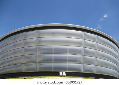 GLASGOW, SCOTLAND - JUNE 05, 2014: Close up of the new SECC Hydro concert hall which was opened was opened in 2013.
