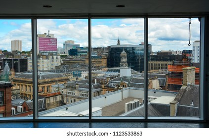 Glasgow / Scotland - June 20, 2018: panorama of Glasgow from the window of Lighthouse, the Scotland's Centre for Architecture and Design