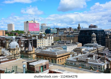 Glasgow / Scotland - June 20, 2018: view of Glasgow from the Lighthouse, the Scotland's Centre for Architecture and Design
