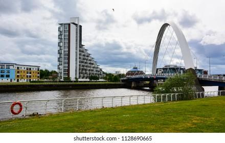 Glasgow / Scotland - June 20, 2018: the Clyde Arc bridge in Glasgow, Scotland, UK