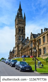 Glasgow / Scotland — June 20, 2018: Glasgow University building is located in the West End of the city. University of Glasgow is one of the oldest universities in Scotland and English-speaking world