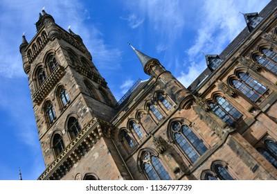 Glasgow / Scotland — June 20, 2018: the main facade of Glasgow University building. University of Glasgow is one of the oldest universities in Scotland and English-speaking world