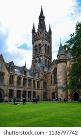 Glasgow / Scotland — June 20, 2018: one of the quadrangles of University of Glasgow, which is one of the oldest universities in Scotland and English-speaking world