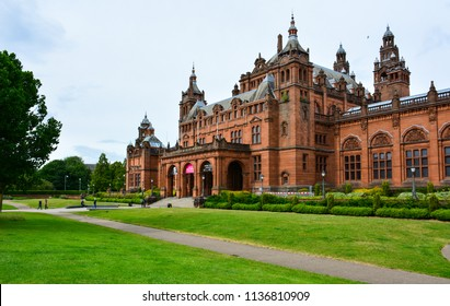 Glasgow / Scotland — June 20, 2018: Kelvingrove Art Gallery and Museum, one of the most popular tourist attractions in Glasgow, features fine collections of paintings and armour