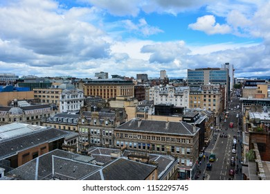 Glasgow / Scotland — June 20, 2018: a panoramic view of the center of Glasgow from the Lighthouse, the Scotland's Centre for Architecture and Design. Glasgow is a largest city in Scotland