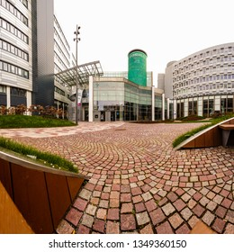 Glasgow, Scotland; March 25th 2019: Panoramic image of the modern architectural design of Glasgow Caledonian University, including the Saltire Centre and green tower.