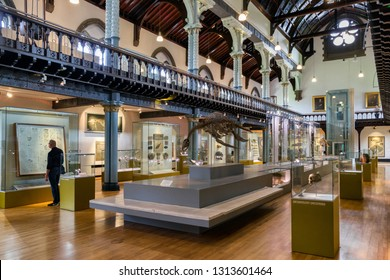 GLASGOW, SCOTLAND - MAY 27: Interior of Hunterian museum in University of Glasgow on May 27, 2018 in Glasgow