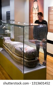 GLASGOW, SCOTLAND - MAY 27: Sarcophagus of ancient egyptian mummy in Hunterian museum at University of Glasgow on May 27, 2018 in Glasgow