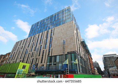 GLASGOW, SCOTLAND - MAY 3, 2017: Construction of new student accomodation. Glasgow is the largest city in Scotland, and third largest in the United Kingdom.