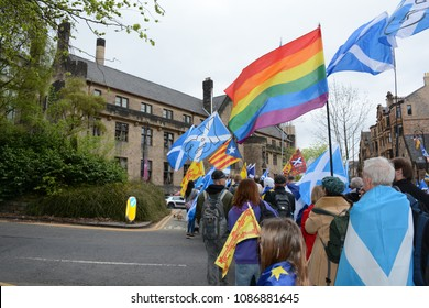 Glasgow, Scotland - May 5 2018: All Under One Banner march for Scottish Independence
