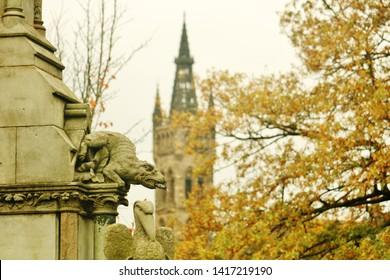 Glasgow / Scotland - October 2018:  Autumn in Kelvingrove Park With Glasgow University In Background