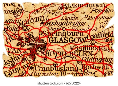 Glasgow, Scotland on an old torn map from 1949, isolated. Part of the old map series.