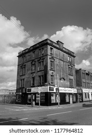 GLASGOW, SCOTLAND - SEPTEMBER 12th 2018: A black and white photograph of an old building that was built in 1905 in Wallace street, Glasgow.