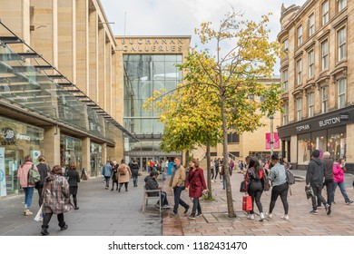 GLASGOW, SCOTLAND - SEPTEMBER 17, 2018: Buchanan Galleries shopping centre in Glasgow. Glasgow is the largest city in Scotland.