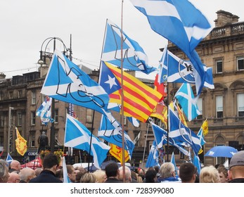 GLASGOW, SCOTLAND- SEPTEMBER 19 2015: The Saltire and the Estelada (Catalonia) flag