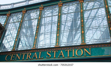 Glasgow, Scotland, UK; 15 October 2017: Central Station sign over Argyll Street in Glasgow.