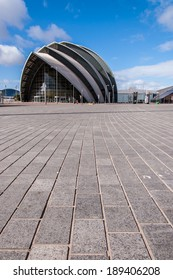 Glasgow, Scotland, UK, 24th March, 2014: View of the SECC exhibition centre. Surface level shot. Glasgow,