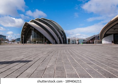 Glasgow, Scotland, UK, 24th March, 2014: View of the SECC exhibition centre. Surface level shot.