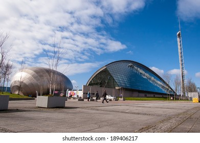 Glasgow, Scotland, UK, 24th March, 2014: View of Glasgow Science Museum and Imax cinema in a sunny day.