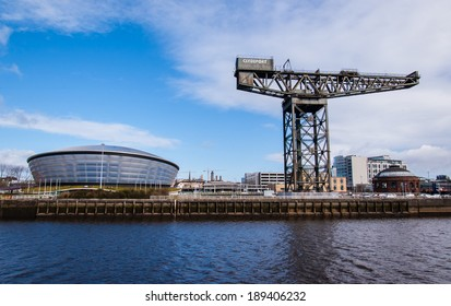 Glasgow, Scotland, UK, 24th March, 2014: View of the newly opened Hydro concert arena with Finnieston crane on the side.