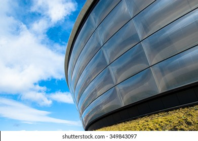 Glasgow, Scotland, UK, 24th March, 2014: Particular of the Hydro concert arena. The SSE Hydro opened in 2013 in Glasgow and plays host to music stars, global entertainment and sporting events.