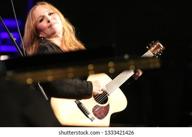 GLASGOW, SCOTLAND, UK : 29 JANUARY 2019 : Grammy nominated Nashville singer songwriter Gretchen Peters plays live with Southern Fried String Quartet during Celtic Connections at Kings Theatre, Glasgow