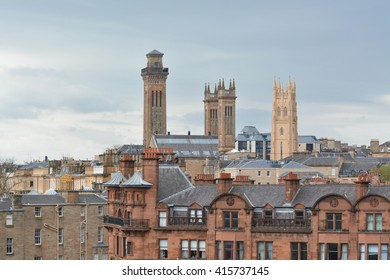 GLASGOW, SCOTLAND, UK - 4 MAY 2016: view of the towers of Trinity College - the Church of Scotland's college at the University of Glasgow, and on the right the former Park Church tower
