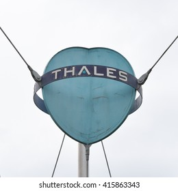 GLASGOW, SCOTLAND, UK - 4 MAY 2016:Thales logo outside Thales Optronics, Linthose Road, Glasgow - part of the International Thales Group