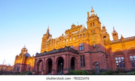 Glasgow, Scotland, UK; December 27th 2017: Kelvingrove art gallery and museum.