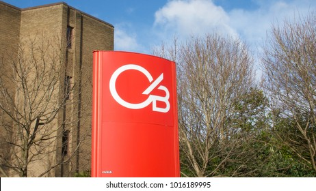 Glasgow, Scotland, UK; February 1st 2018: The sign for Clydesdale Bank at the entrance to Clydebank Business Park.