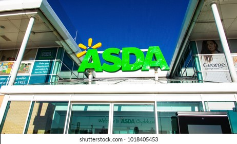 Glasgow, Scotland, UK; February 1st 2018: The sign for the Asda store at Clyde Shopping Centre.