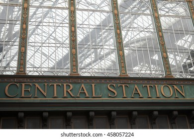 GLASGOW, SCOTLAND, UK - JUNE 27, 2016: fragment of entrance to the Central Glasgow Station