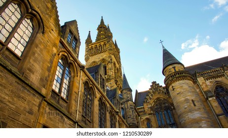 Glasgow, Scotland, UK; October 14th 2018:  Tower from within the quadrangle at Glasgow University.