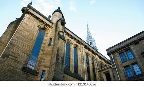 Glasgow, Scotland, UK; October 14th 2018:  Building within the quadrangle at Glasgow University.
