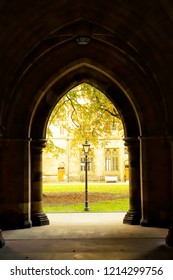 Glasgow, Scotland, UK; October 14th 2018:  The Cloisters between the quadrangles at Glasgow University.