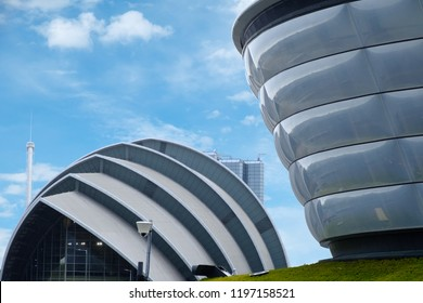 Glasgow, Scotland, UK - Sept 25. 2018 : View of SEC Armadillo centre and SSE Hydro arena