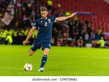Glasgow, Scotland, United Kingdom – September 6, 2019. Scotland national football team right back Stephen O'Donnell during UEFA Euro 2020 qualification match Scotland vs Russia in Glasgow.