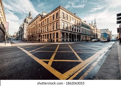 Glasgow, Scotland,UK - March 8, 2019:Crossing of Ingram and S Frederick St in Glasgow, Scotland,UK