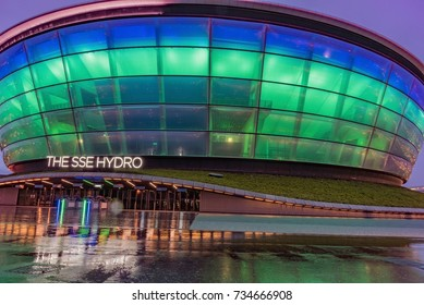 GLASGOW, UK - AUGUST 16, 2017-    The SSE Hydro is a multifunctional covered arena located within the Scottish Event Campus in Glasgow, Scotland