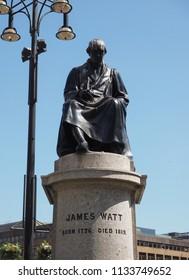 GLASGOW, UK - CIRCA JUNE 2018: James Watt statue in George Square