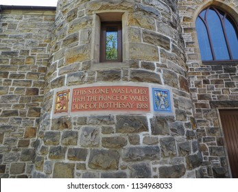 GLASGOW, UK - CIRCA JUNE 2018: Stone laid by HRH the Prince of Wales Duke of Rothesay in 1988