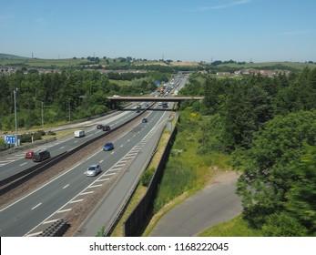 GLASGOW, UK - CIRCA JUNE 2018: M8 motorway connecting Glasgow and Edinburgh