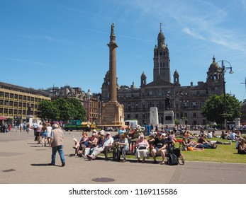 GLASGOW, UK - CIRCA JUNE 2018: People in the city centre