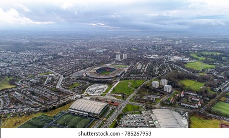 Glasgow, UK - DECEMBER 24 : Hampden Park Stadium on December 24, 2017. Flying by Aerial View Iconic Famous Hampden Park Stadium in Glasgow, Scotland and the Scottish National Football Stadium in UK