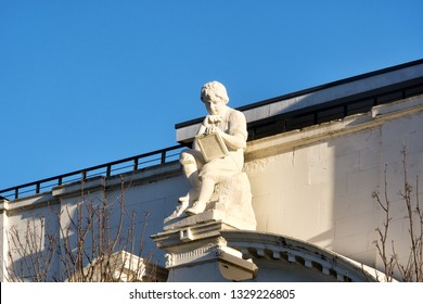 Glasgow, UK - January 01, 2019: Figure of a studious boy at the former Greenview School